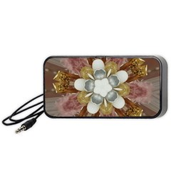 Elegant Antique Pink Kaleidoscope Flower Gold Chic Stylish Classic Design Portable Speaker (Black)