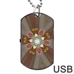 Elegant Antique Pink Kaleidoscope Flower Gold Chic Stylish Classic Design Dog Tag USB Flash (One Side)