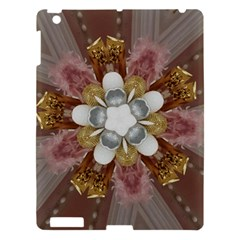 Elegant Antique Pink Kaleidoscope Flower Gold Chic Stylish Classic Design Apple iPad 3/4 Hardshell Case