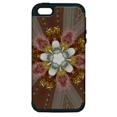Elegant Antique Pink Kaleidoscope Flower Gold Chic Stylish Classic Design Apple iPhone 5 Hardshell Case (PC+Silicone)