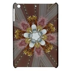 Elegant Antique Pink Kaleidoscope Flower Gold Chic Stylish Classic Design Apple iPad Mini Hardshell Case