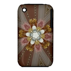 Elegant Antique Pink Kaleidoscope Flower Gold Chic Stylish Classic Design iPhone 3S/3GS