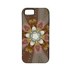 Elegant Antique Pink Kaleidoscope Flower Gold Chic Stylish Classic Design Apple iPhone 5 Classic Hardshell Case (PC+Silicone)
