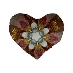 Elegant Antique Pink Kaleidoscope Flower Gold Chic Stylish Classic Design Standard 16  Premium Heart Shape Cushions