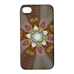 Elegant Antique Pink Kaleidoscope Flower Gold Chic Stylish Classic Design Apple iPhone 4/4S Hardshell Case with Stand