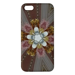 Elegant Antique Pink Kaleidoscope Flower Gold Chic Stylish Classic Design Apple iPhone 5 Premium Hardshell Case