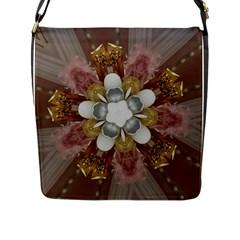 Elegant Antique Pink Kaleidoscope Flower Gold Chic Stylish Classic Design Flap Messenger Bag (L)