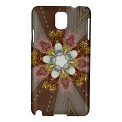 Elegant Antique Pink Kaleidoscope Flower Gold Chic Stylish Classic Design Samsung Galaxy Note 3 N9005 Hardshell Case