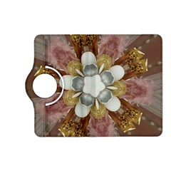 Elegant Antique Pink Kaleidoscope Flower Gold Chic Stylish Classic Design Kindle Fire HD (2013) Flip 360 Case