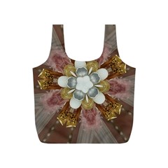 Elegant Antique Pink Kaleidoscope Flower Gold Chic Stylish Classic Design Full Print Recycle Bags (S)