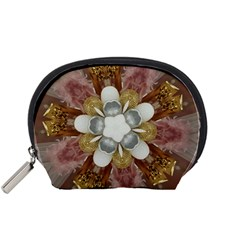 Elegant Antique Pink Kaleidoscope Flower Gold Chic Stylish Classic Design Accessory Pouches (Small)
