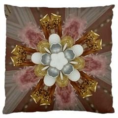 Elegant Antique Pink Kaleidoscope Flower Gold Chic Stylish Classic Design Large Flano Cushion Case (Two Sides)