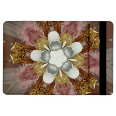 Elegant Antique Pink Kaleidoscope Flower Gold Chic Stylish Classic Design iPad Air 2 Flip