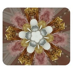 Elegant Antique Pink Kaleidoscope Flower Gold Chic Stylish Classic Design Double Sided Flano Blanket (Small)