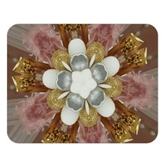 Elegant Antique Pink Kaleidoscope Flower Gold Chic Stylish Classic Design Double Sided Flano Blanket (Large)