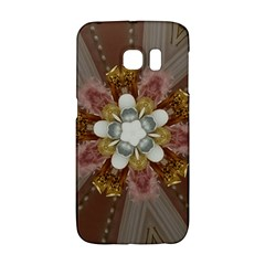Elegant Antique Pink Kaleidoscope Flower Gold Chic Stylish Classic Design Galaxy S6 Edge