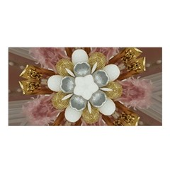 Elegant Antique Pink Kaleidoscope Flower Gold Chic Stylish Classic Design Satin Shawl