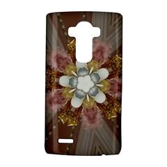 Elegant Antique Pink Kaleidoscope Flower Gold Chic Stylish Classic Design LG G4 Hardshell Case