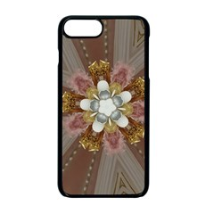 Elegant Antique Pink Kaleidoscope Flower Gold Chic Stylish Classic Design Apple Iphone 7 Plus Seamless Case (black)