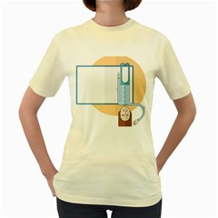 Presentation Girl Woman Hovering Women s Yellow T-Shirt