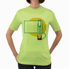 Presentation Girl Woman Hovering Women s Green T-Shirt