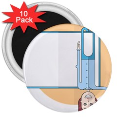 Presentation Girl Woman Hovering 3  Magnets (10 pack)