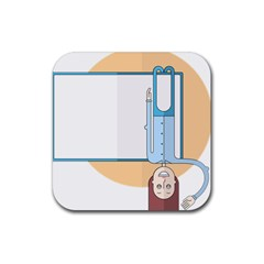 Presentation Girl Woman Hovering Rubber Square Coaster (4 pack)