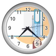 Presentation Girl Woman Hovering Wall Clocks (Silver)