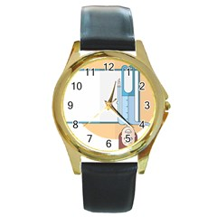 Presentation Girl Woman Hovering Round Gold Metal Watch