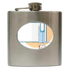 Presentation Girl Woman Hovering Hip Flask (6 oz)