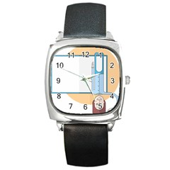 Presentation Girl Woman Hovering Square Metal Watch