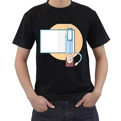 Presentation Girl Woman Hovering Men s T-Shirt (Black) (Two Sided)