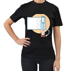 Presentation Girl Woman Hovering Women s T-Shirt (Black) (Two Sided)