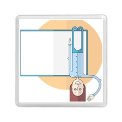 Presentation Girl Woman Hovering Memory Card Reader (Square)