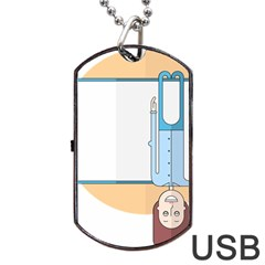 Presentation Girl Woman Hovering Dog Tag USB Flash (One Side)