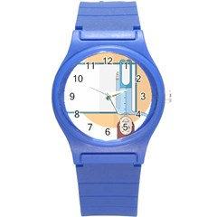 Presentation Girl Woman Hovering Round Plastic Sport Watch (S)