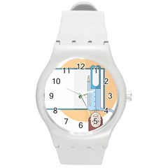 Presentation Girl Woman Hovering Round Plastic Sport Watch (M)