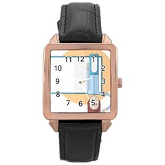 Presentation Girl Woman Hovering Rose Gold Leather Watch