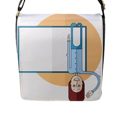 Presentation Girl Woman Hovering Flap Messenger Bag (L)