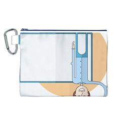 Presentation Girl Woman Hovering Canvas Cosmetic Bag (L)