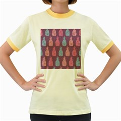 Pineapple Pattern Women s Fitted Ringer T-Shirts