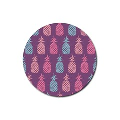Pineapple Pattern Rubber Round Coaster (4 pack)