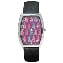 Pineapple Pattern Barrel Style Metal Watch