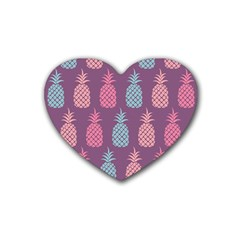 Pineapple Pattern Rubber Coaster (Heart)