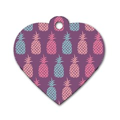 Pineapple Pattern Dog Tag Heart (Two Sides)