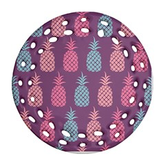 Pineapple Pattern Round Filigree Ornament (2Side)