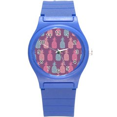 Pineapple Pattern Round Plastic Sport Watch (S)