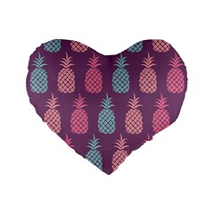 Pineapple Pattern Standard 16  Premium Flano Heart Shape Cushions
