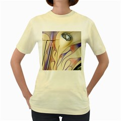 Pin Stripe Car Automobile Vehicle Women s Yellow T-Shirt
