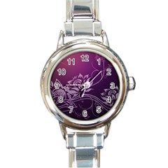 Purple Lotus Round Italian Charm Watch